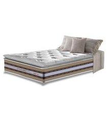 colchão solteiro de molas ensacadas d33 com pillow top cama inbox select 88x188x32 bege