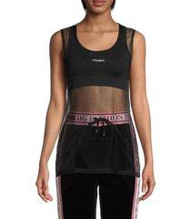 dolce & gabbana women's logo mesh tank top - black - size 44 (10)