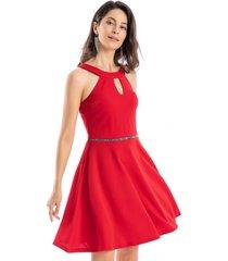 vestido detalle cintura strass rojo nicopoly