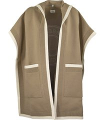 burberry carla knt - wool and cashmere hooded cape with jacquard graphics and logo