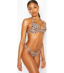 mix & match push up underwired bikini top, brown