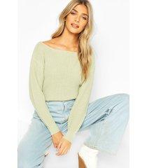 slash neck crop fisherman sweater, sage