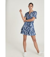 reiss charlie - tassel printed mini dress in blue, womens, size 14