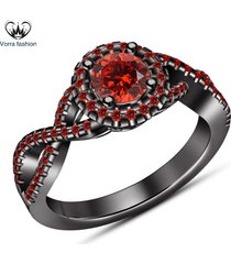 criss cross engagement ring in black gold finish 925 silver round cut red garnet