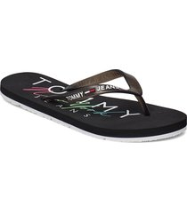 rubber thong beach sandal shoes summer shoes flip flops svart tommy hilfiger