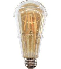 lâmpada led st64 com filamento 6w bivolt 2400k luz amarela
