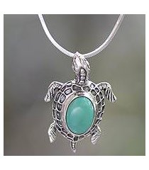 sterling silver pendant necklace, 'ocean turtle' (indonesia)