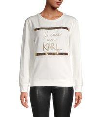 karl lagerfeld paris women's embellished cotton-blend sweatshirt - white gold - size l