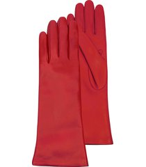 forzieri designer women's gloves, red leather women's long gloves w/cashmere lining