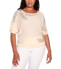 belldini black label plus size 3/4 dolman sleeve pullover sweater with all over rhinestone detailing