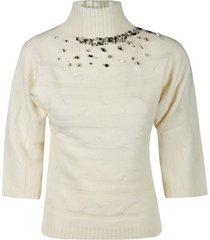 anna molinari crystal embellished turtleneck sweater