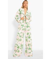 blouse met strik en opdruk en wide leg broek, green