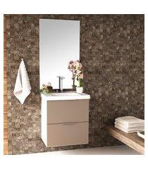conjunto para banheiro pietra 60cm bosi gabinete suspenso + cuba e espelheira