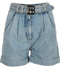 balmain buckle high waist denim shorts