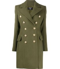 balmain embossed buttons military coat - green