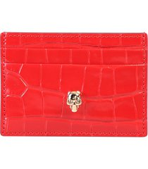 alexander mcqueen crocodile print card holder