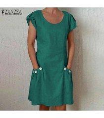 zanzea para mujer de manga corta del cuello de o floja ocasional camiseta de algodón vestido más del tamaño -verde