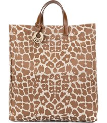 fendi pre-owned leopard hand tote bag - brown