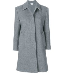 thom browne unlined bal collar overcoat in boiled wool - grey