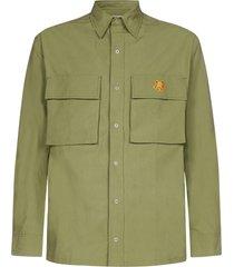 kenzo tiger-patch oversized cotton shirt