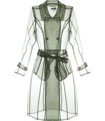 apparis transparent trench coat - green