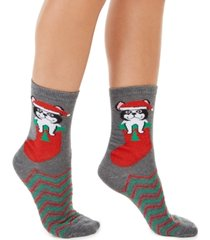 charter club women's frenchie dog stocking crew socks, created for macy's