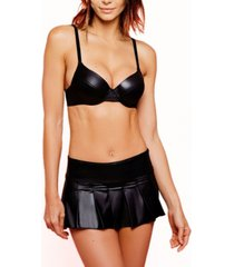 women's second skin pleather bralette and skirt 2pc lingerie set