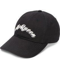 alexander mcqueen logo print baseball cap - black