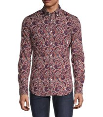 ben sherman men's slim-fit paisley-print shirt - baked clay - size s