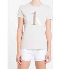 camiseta feminina ck one cáqui loungewear calvin klein - m