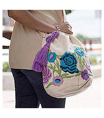 cotton blend bucket bag, 'lilac lovelies' (mexico)