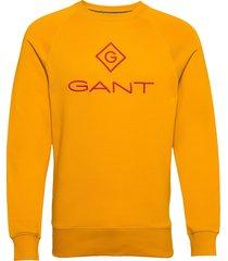 d1. color lock up c-neck sweat-shirt tröja gul gant