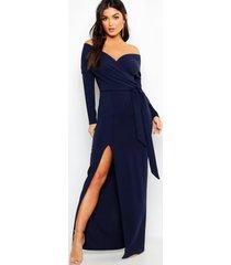 bruidsmeisjes maxi jurk met split en open schouders, marineblauw