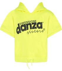 dimensione danza neon yellow sweatshirt with black logo for girl
