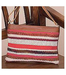 leather accent cotton blend shoulder bag, 'sorbet stripes' (peru)
