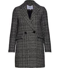 onlnewselena life check wool coat cc otw wollen jas lange jas grijs only
