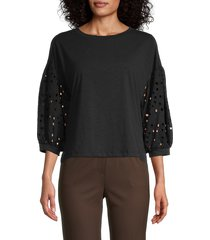 status by chenault women's eyelet-sleeve top - black - size m