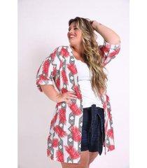 kimono kauê plus size folhagem feminina