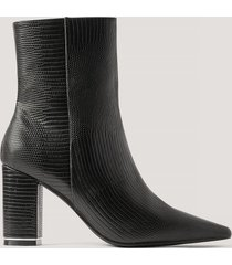 gine margrethe x na-kd ormskinnsmönstrade högklackade skor - black