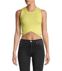 525 america women's crossover cutout cropped top - black - size xs