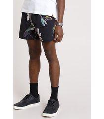 short masculino estampado floral com bolsos preto