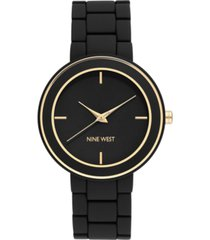 nine west women's gold-tone and black rubberized bracelet watch, 38.5mm