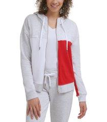 tommy hilfiger sport colorblocked zip-up terry hoodie