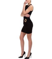 vestito abito donna corto miniabito senza maniche gold frame