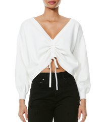 alice + olivia nora reversible drawcord ruched sweater, size x-large in soft white at nordstrom