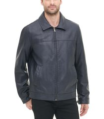 tommy hilfiger men's faux leather laydown collar jacket