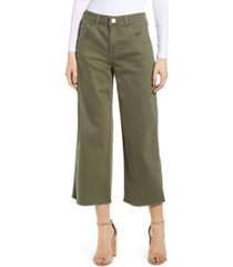 prosperity denim cargo wide leg crop jeans, size 30 in olive at nordstrom