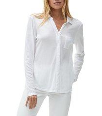 women's michael stars harley long sleeve ultra jersey shirt, size x-large - white