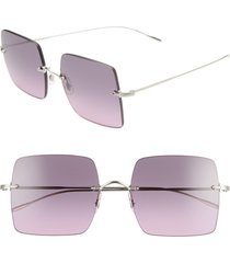 oliver peoples oishe 57mm gradient rimless square sunglasses in silver/iris gradient at nordstrom