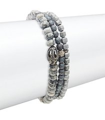 agate, hematite & diamond three-strand beaded bracelet